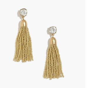 J CREW GOLD BEADED W/CUBIC ZIRCONIA EARRINGS